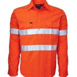 Closed front long sleeve shirt with 3M 8910 reflective tape - RM104CFR