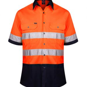 2 Tone open front short sleeve shirt with 3M 8910 reflective tape - RM1050RS
