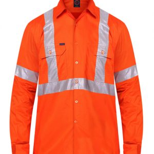 """Open front long sleeve shirt with """"X"""" back 3M 8910 reflective tape - RM106XR"""