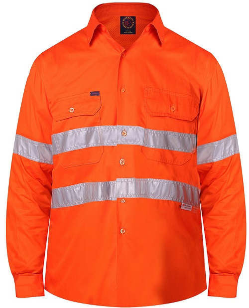 Vented light weight open front long sleeve shirt with 3M 8910 reflective tape - RM108V3R