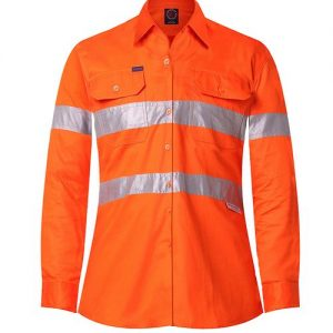 Ladies vented light weight open front long sleeve shirt with 3M 8910 reflective tape - RM208V3R