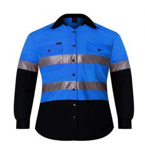 KIDS SHIRT - 2 Tone open front long sleeve shirt with reflective tape - RM4050R