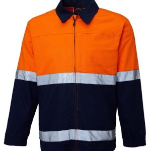 2 Tone 100% cotton drill jacket with 3M 8910 reflective tape - RM5071R