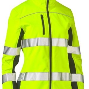 Ladies Taped Two Tone Hi Vis Soft Shell Jacket - BJL6059T - Yellow/Navy