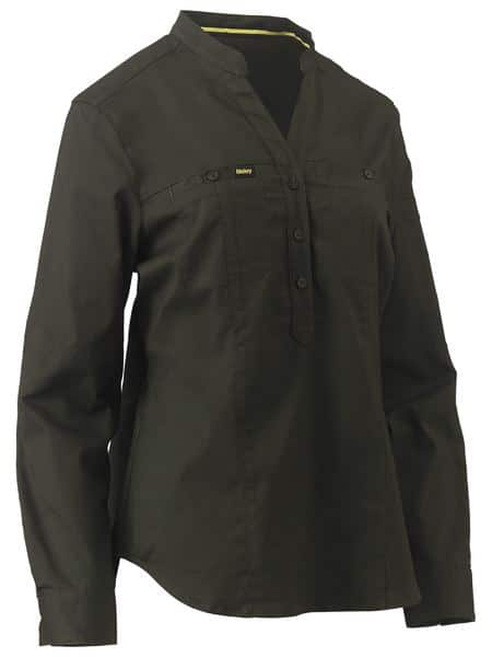Ladies Stretch V-Neck Closed Front Shirt - BLC6063 - Olive