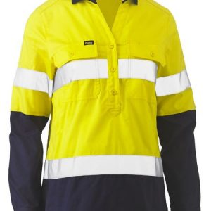 Ladies Taped Hi Vis Stretch V-Neck Shirt - BLC6064T - Yellow/Navy