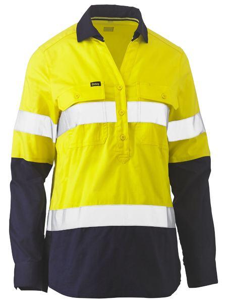 Ladies Taped Hi Vis Stretch V-Neck Shirt - BLC6064T - Yellow/Navy