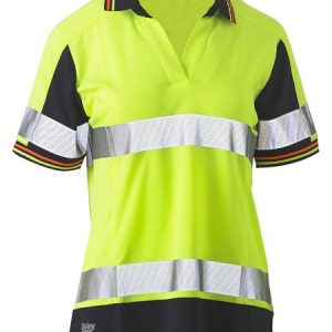 Ladies Short Sleeve Taped Two Tone Hi Vis V-Neck Polo - BKL1225T - Yellow/Navy