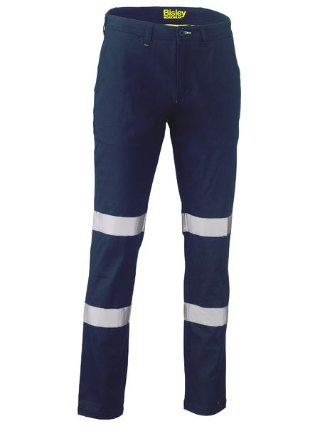 Taped Biomotion Stretch Cotton Drill Work Pants - BP6008T - Navy