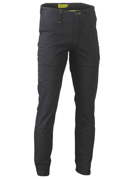 Stretch Cotton Drill Cargo Cuffed Pants - BPC6028 - Black