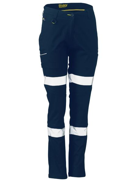 Ladies Taped Stretch Cotton Pants - BPL6015T - Navy