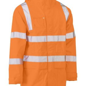 Taped Hi Vis Rail Wet Weather Jacket - BJ6964T - Rail Orange