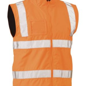 Taped Hi Vis Rail Wet Weather Vest - BV0364T - Rail Orange