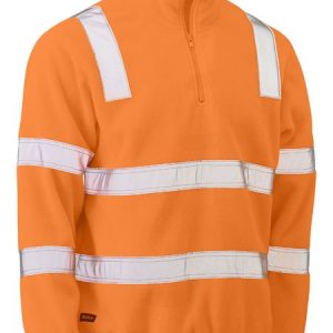 Taped Hi Vis Rail Polar Fleece Jumper - BK6816T - Rail Orange