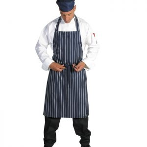 Pinstripe Full Bib Apron. No Pocket - 2536 - Blue/White Vertical Stripe