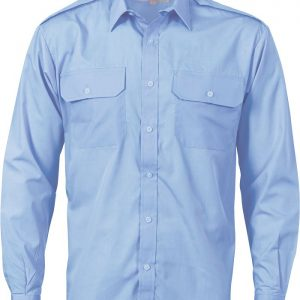 Mens Epaulette Long Sleeve Work Shirt. 65% Polyester