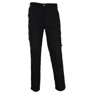 Mens Cargo Pants. 100% Cotton. 190gsm. Light Weight - 3316 - Black