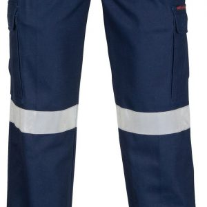 Mens Hi Vis Taped Cargo Pants. 100% Cotton. 265gsm. Mid Weight - 3360 - Navy