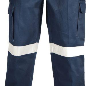 Mens Hi Vis Bio Motion Taped Cargo Pants. 100% Cotton. 311gsm. Regular Weight - 3361 - Navy