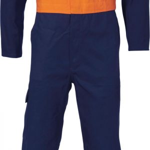 Mens HRC2/ PPE2 Two Tone Drill Overall. 100% Cotton. 311gsm. Regular Weight - 3425 - Orange/Navy