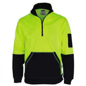 Hi Vis 1/2 Zip Super Fleecy - 3724 - Yellow/Navy