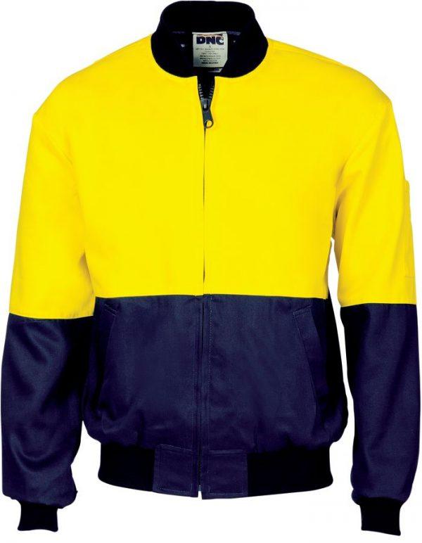 Hi Vis Two Tone Bomber Jacket. 100% Cotton- 3757 - Yellow/Navy