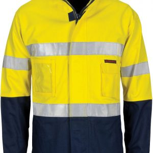 "Hi Vis ""4 IN 1"" Cotton Drill Taped Jacket - 3764 - Yellow/Navy"