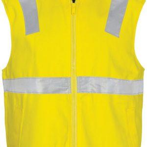 Hi Vis Taped Reversible Vest. 100% Cotton - 3765 - Yellow/Navy