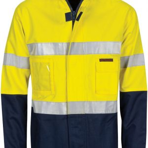 Hi Vis 2 in 1 Taped Jacket. Cotton Drill. 311gsm - 3767 - Yellow/Navy