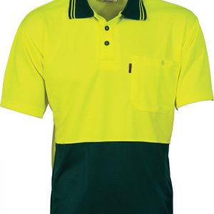 Mens BASIC Hi Vis Short Sleeve Two Tone  Polo Shirt. 100% Polyester. 175gsm - 3811 - Yellow/Bottle Green