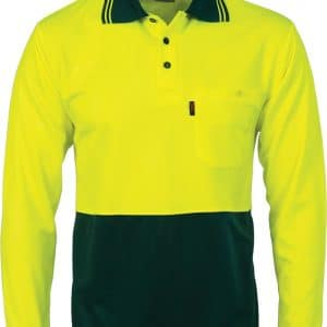 Mens BASIC Hi Vis Long Sleeve Two Tone  Polo Shirt. 100% Polyester. 175gsm - 3813 - Yellow/Bottle Green