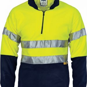 Hi Vis 3M Taped Two Tone 1/2 Zip Polar Fleece Jumper - 3829 - Yellow/Navy