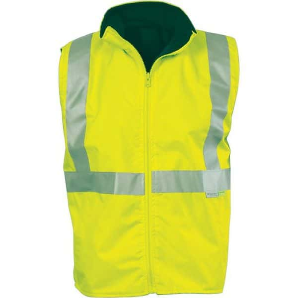 Hi Vis 3M Taped Reversible Vest - 3865 - Yellow/Bottle Green