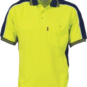 Mens Contrast Panel Polo. 65% Polyester/ 35% Cotton Pique Knit. 220gsm - 3895 - Yellow/Navy