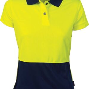 Ladies Hi Vis Short Sleeve Two Tone Polo. 100% Polyester. 175gsm - 3897 - Yellow/Navy