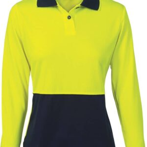 Ladies Hi Vis Long Sleeve Two Tone Polo. 100% Polyester. 175gsm - 3898 - Yellow/Navy