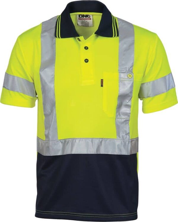 Mens Hi Vis Short Sleeve X Back Taped Cool Breathe Polo Shirt. 100% Polyester. 175gsm - 3912 - Yellow/Navy