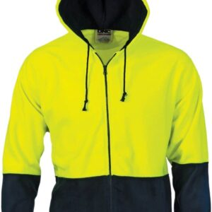 Hi Vis Full Zip Polar Fleece Hoodie - 3927 - Yellow/Navy