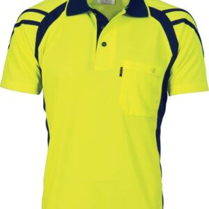 Mens Cool Breathe Stripe Panel Polo Shirt. 100% Polyester. 175gsm - 3979 - Yellow/Navy