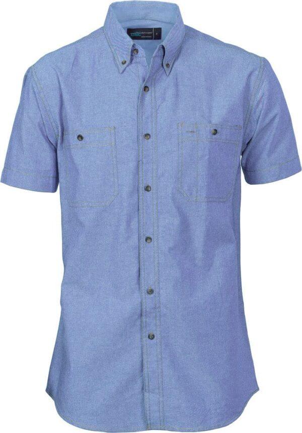Mens Short Sleeve Cotton Chambray Shirt. 155gsm -4101 - Chambray
