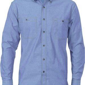 Mens Long Sleeve Cotton Chambray Shirt. 155gsm -4102 - Chambray