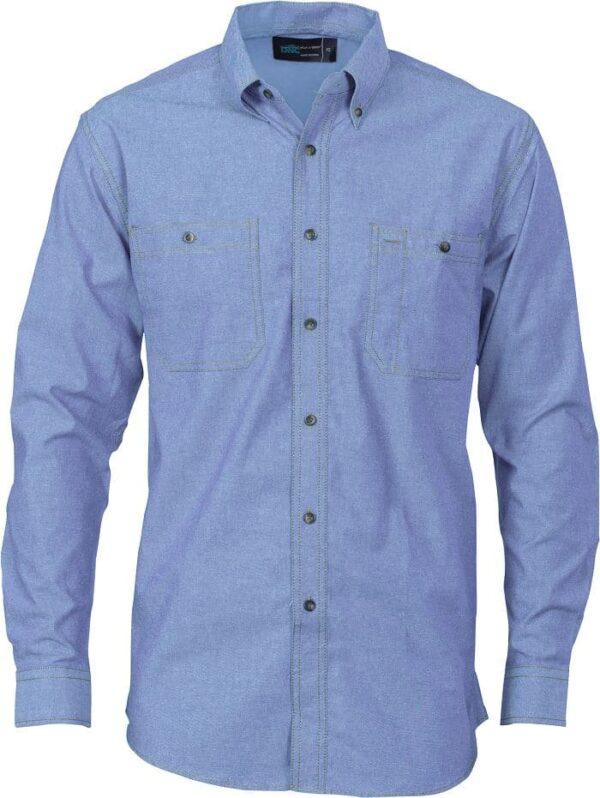 Mens Long Sleeve Cotton Chambray Shirt. 155gsm -4102 - Chambray