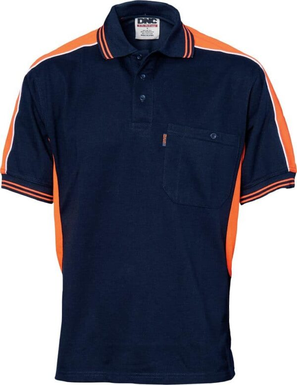 Mens Short Sleeve Panel Polo Shirt. 65% Polyester