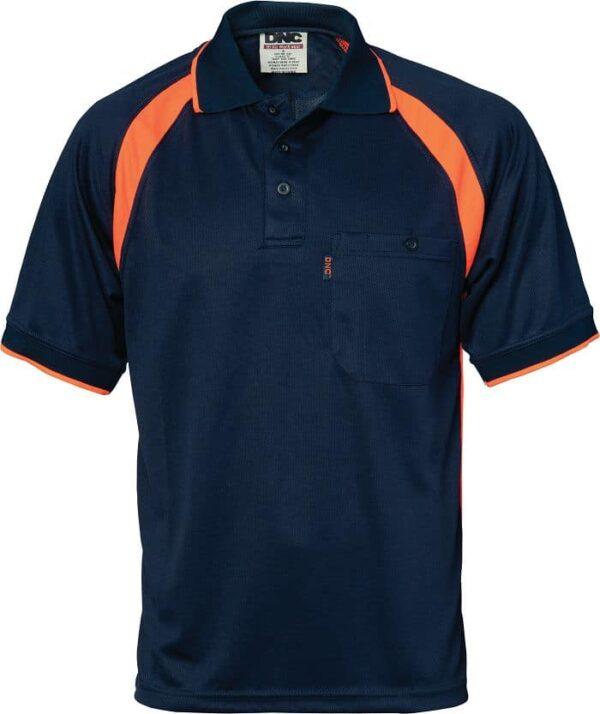 Mens Short Sleeve Coolbreathe Contrast Polo. 100% Polyester. 175gsm - 5216 - Navy/Orange