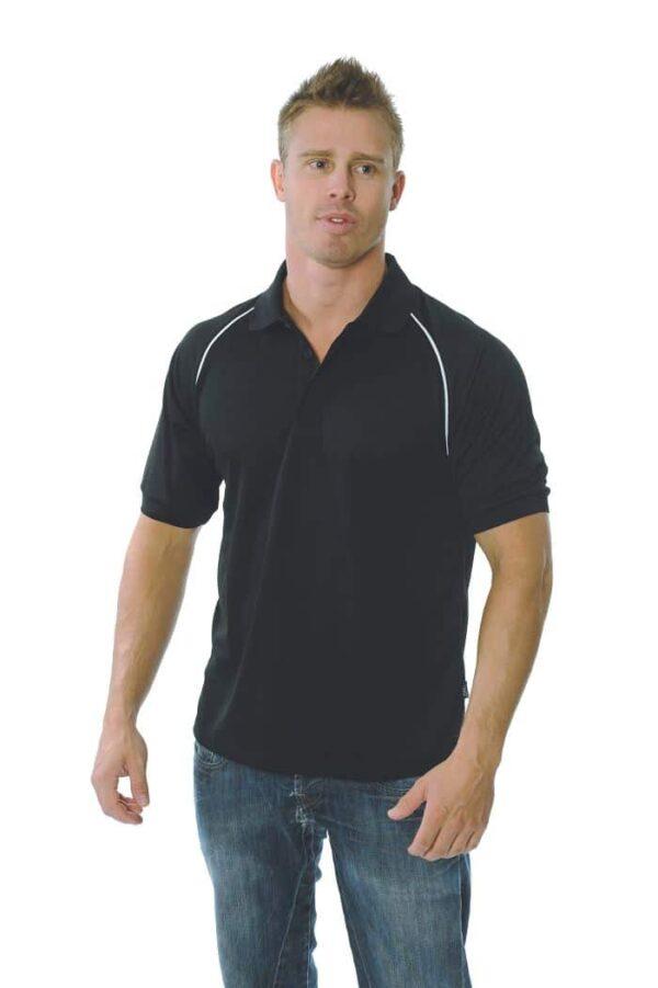 Mens Cool Breathe Rome Polo. 100% Polyester. 160gsm - 5267 - Black/White