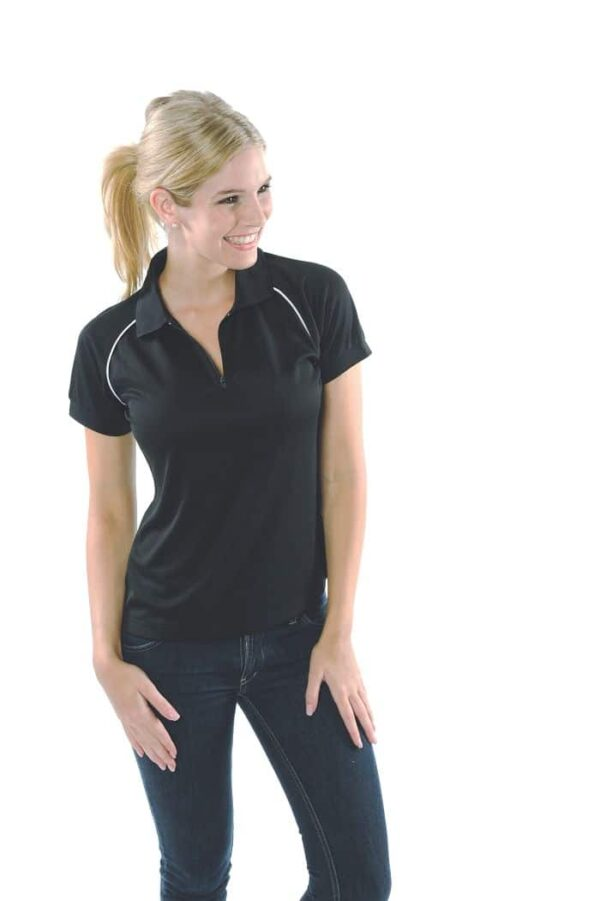Ladies Cool Breathe Rome Polo. 100% Polyester. 160gsm - 5268 - Black/White