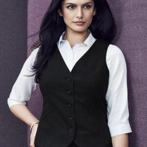 Ladies Peaked Vest with Knitted Back - Black