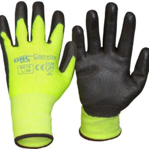 Convoy Hi Vis Yellow Safety Gloves - GC15 - Black/HiVis Yellow