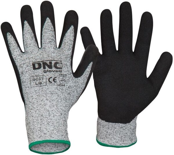 Cut5 - Nitrile Sandy Finish Palm Safety Gloves - GC31 - Black/Grey