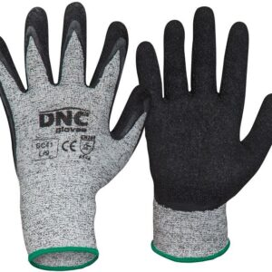 Cut5-Latex Palm with wrinkle Finish Safety Gloves - GC41 - Black/Grey